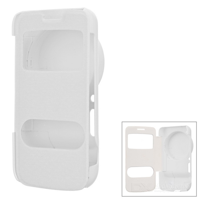 Flip Open PU Case w/ Dual Visual Windows for Samsung S4 Zoon - White