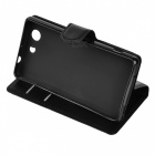 Lychee Pattern Protective PU Case for Sony Z3 Mini /Z3 Compact - Black
