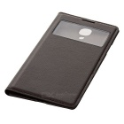 Protective PU Leather Case w/ Visual Window for Samsung S4 - Brown