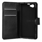 Lychee Pattern Protective PU Case for Sony Xperia Z1 Mini - Black