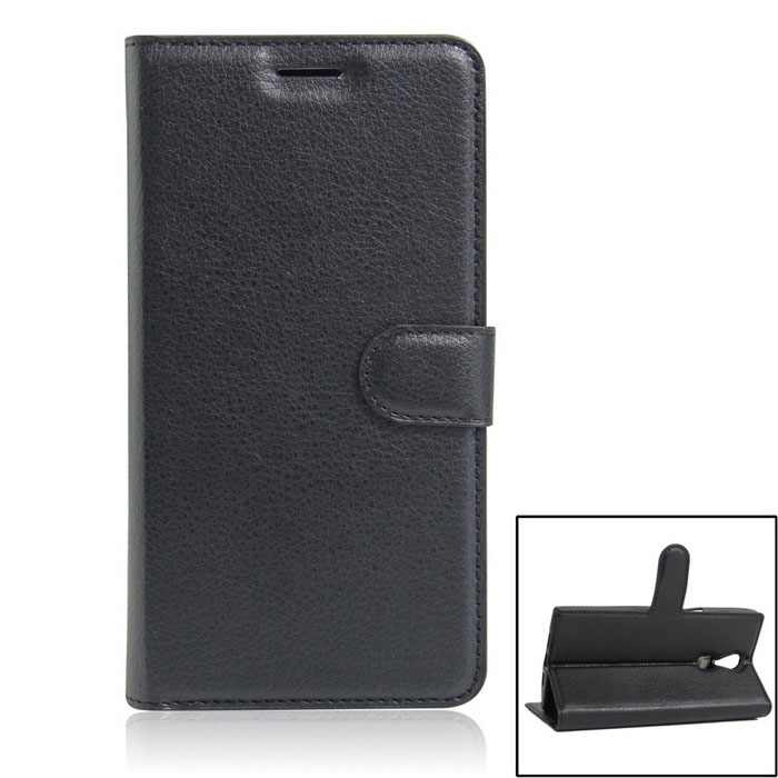 PU Leather Wallet Case w/ Stand / Card Slots for DOOGEE F5 - Black