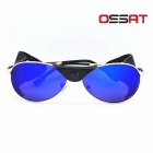OSSAT Mountaineering Driving Polarized Sunglasses - Gold + Blue REVO