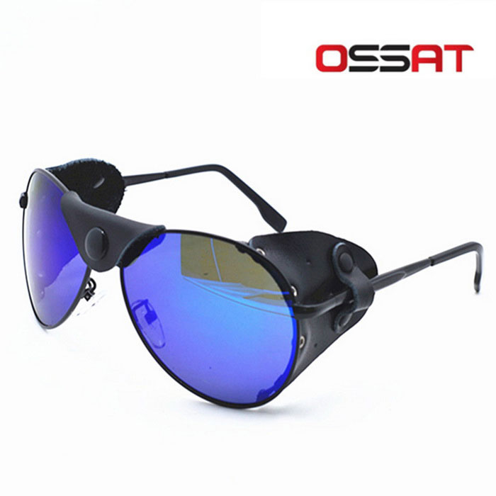OSSAT Polarization Mountaineering Sunglasses - Black + Blue REVO