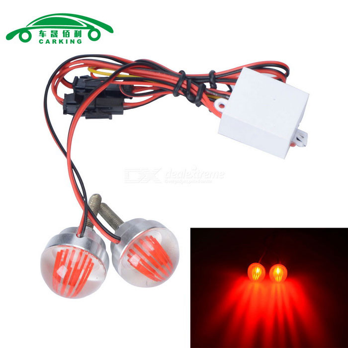 CARKING 3W Motorcycle LED License Plate Light Red Light (12V / 2PCS)