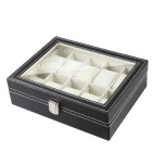 Watch Display Jewelry Collection Storage Leather Box - Black + Beige