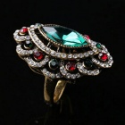 Retro Emerald Diamond Inlaid Gold-plated Ring for Women - Green + Gold