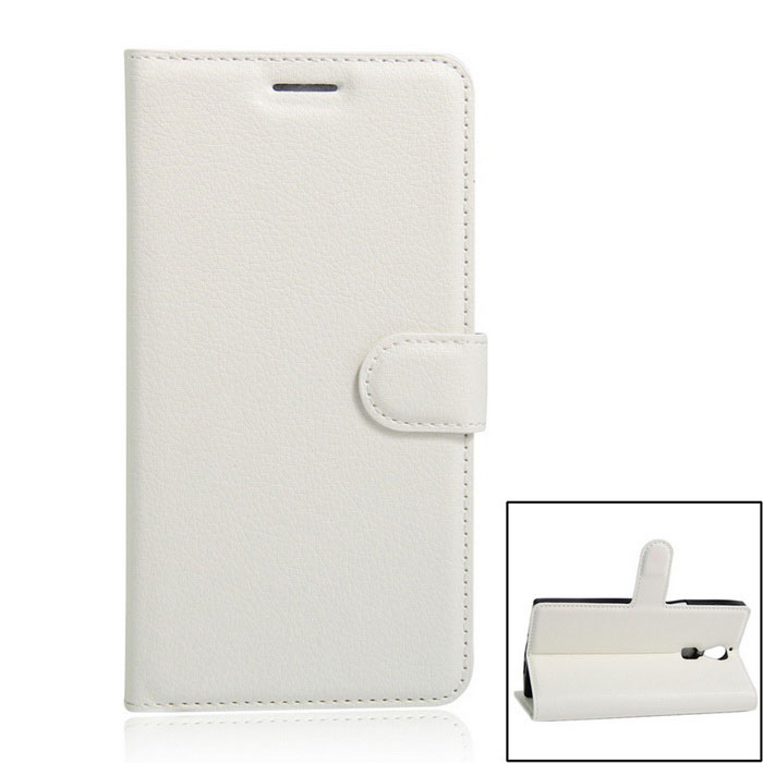 PU Leather Wallet Cases w/ Stand / Card Slots for DOOGEE F5 - White