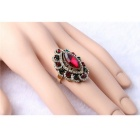 Retro Ruby Diamond Inlaid Gold-plated Ring for Women - Red + Gold