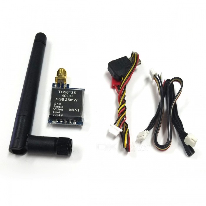 FPV TS5813S 5.8GHz 25mW 40-CH Mini AV Wireless Transmitter - Black