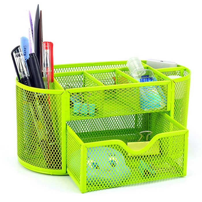 Wrought Iron 9-Case Desktop Stationery Box / Big Drawer - GreenPen Holder<br>Form ColorGreenMaterialMetalQuantity1 DX.PCM.Model.AttributeModel.UnitShapeovalPacking List1 * Storage box<br>