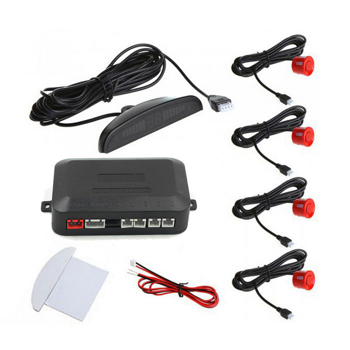 "0,6 ""Wired 4 sensores de estacionamento Car Inverter Sistema Radar - Red"