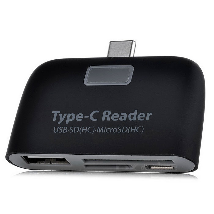 USB 3.1 TYPE-C к USB 2.0 Hub + SD / TF Card Reader с функцией OTG - черный