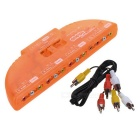 3-in 1-out AV Adapter Converter - Translucent Orange