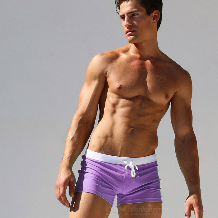 Fashion Back Zipper Pocket Design Beach Swimming Trunks - Purple (XL)
