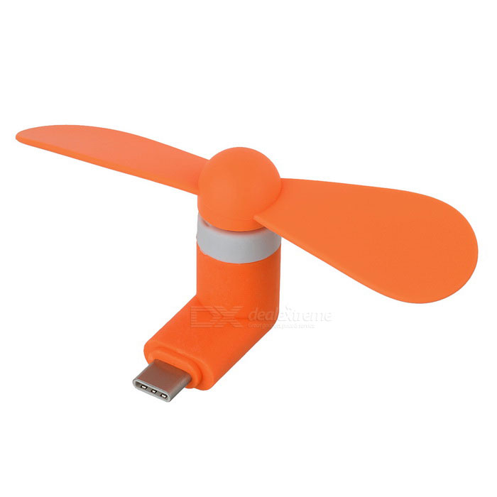 Mini Type-C Phone Fan - Orange + White