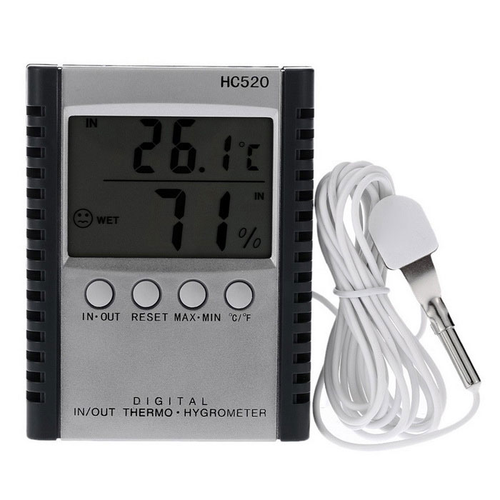 "2.5"" LCD Digital Indoor Outdoor Thermometer Hygrometer - Black + White"