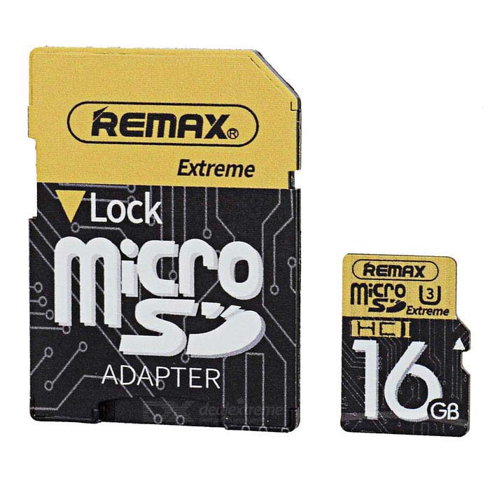 REMAX Class10 carte Micro SD / mémoire TF - Noir + Jaune (16 Go)