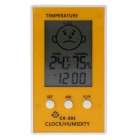 LCD Digital Thermometer Hygrometer Clock - Yellow + White