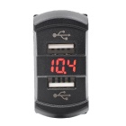 Automoble Motorcycle 12V Car Charger w / Dual USB Voltmeter Rouge Light