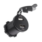 Car / Motorcycle 12V Car Charger w/ Dual USB Voltage Meter Blue Light