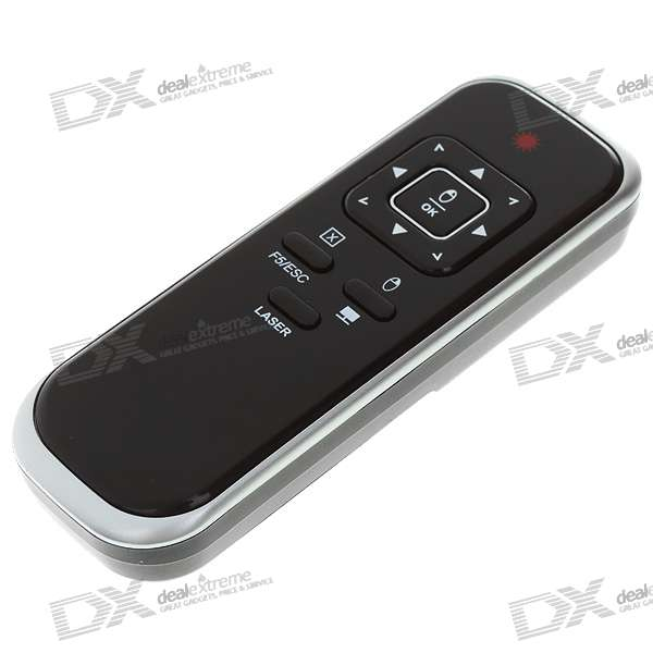 Wireless USB RF Presenter with Red Laser Pointer - Black + Silver (433MHz/2*AAA)