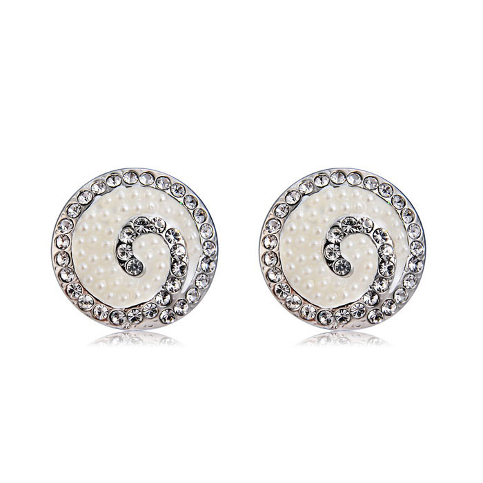 Xinguang Shells + Rhinestones Decorated Stud Earrings (Pair)