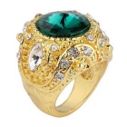 Retro Fashion Emerald Style Rhinestones Inlaid Gold-plated Alloy Ring