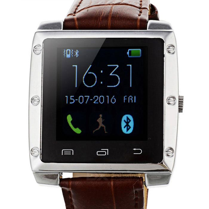 "Bluetooth V4.0 Leather Band Metal Case 1.44"" TFT Smart Wrist Watch"