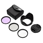 CPL + FLD Fluorescent + UV Polarizer Filters + Lens Cover + 52mm Hood
