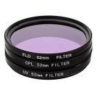 CPL + FLD Fluorescent + UV polarise Filter + linsedeksel + 52mm Hood