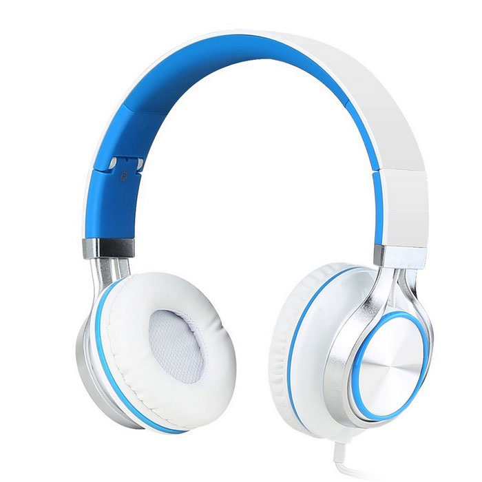 MS200 Universal Subwoofer Folding Headphone - White + Blue