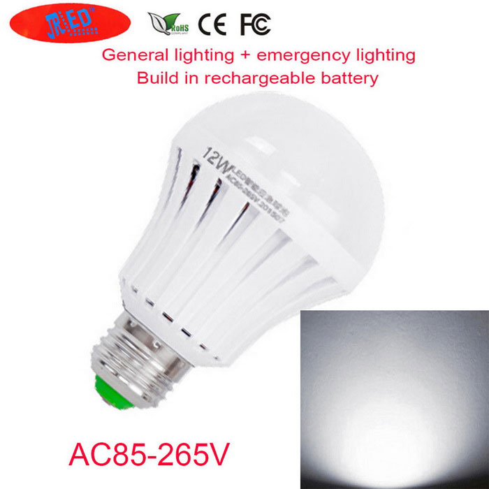 JRLED E27 12W Cold White Rechargeable Emergency Light Bulb(AC 85-265V)E27<br>Color BINCool WhiteMaterialPVC + LEDForm  ColorWhite + MulticolorQuantity1 DX.PCM.Model.AttributeModel.UnitPower12WRated VoltageAC 85-265 DX.PCM.Model.AttributeModel.UnitConnector TypeE27Chip BrandOthers,-Chip Type5730 SMDEmitter TypeOthers,5730 SMDTotal Emitters24Theoretical Lumens700 DX.PCM.Model.AttributeModel.UnitActual Lumens600 DX.PCM.Model.AttributeModel.UnitColor Temperature6000KDimmableNoBeam Angle180 DX.PCM.Model.AttributeModel.UnitWavelengthN/ACertificationCE ROHSOther FeaturesNew listing of emergency artifact power switch home necessary, set general lighting and power outage emergency lighting and various, built-in 1200Ma large capacity lithium battery, the use of 5730 LED energy-saving lamp, after a power outage can use 1-2 hours.Packing List1 * E27 bulb<br>