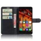 PU Leather Wallet Case w/ Card Slots for Elephone P9000 Lite - Black