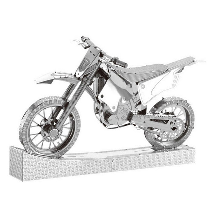 3D Stereo DIY Kreatives Puzzle Motorrad Spielzeug - Silber