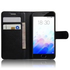 PU Leather Wallet Case w/ Card Slots / Stand for Meizu M3 - Black
