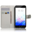 PU Leather Wallet Cases w/ Card Slots / Stand for Meizu M3 - White