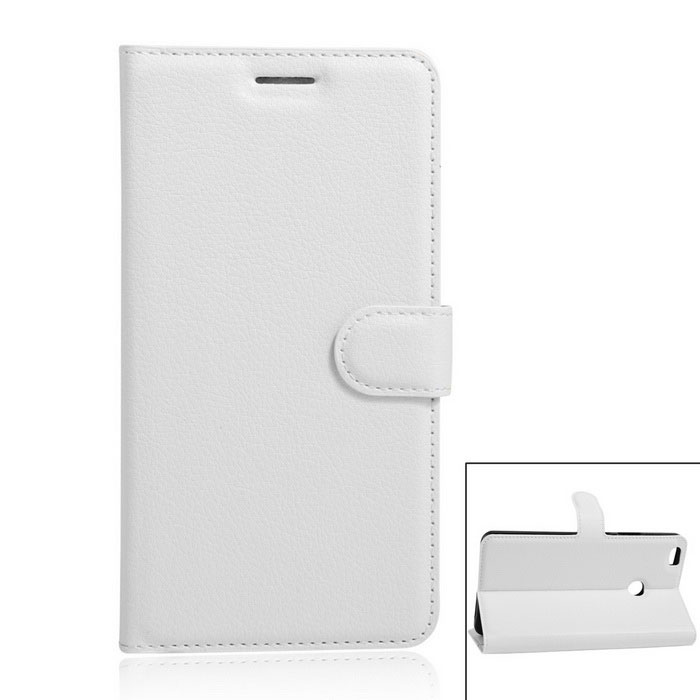 PU Leather Wallet Full Body Case w/ Card Slots for Xiaomi Max - White