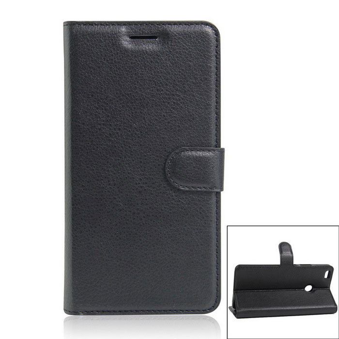 PU Leather Wallet Full Body Case w/ Card Slots for Xiaomi Max - Black
