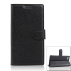 Protective PU Leather Case w/ Card Slots for DOOGEE Y300 - Black