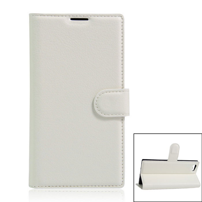 Protective PU Leather Case w/ Card Slots for DOOGEE Y300 - White