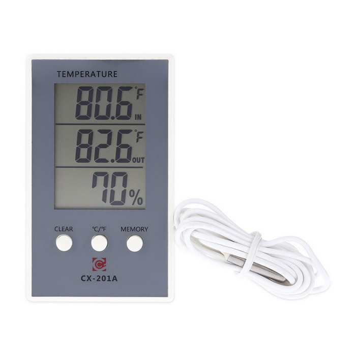 LCD Digital Indoor/Outdoor Thermometer Hygrometer - GreyOther Measuring &amp; Analysing Instruments<br>Form  ColorGreyModelN/AQuantity1 DX.PCM.Model.AttributeModel.UnitMaterialABSScreen Size3.5 DX.PCM.Model.AttributeModel.UnitPowered ByAAA BatteryBattery Number1Battery included or notNoOther FeaturesIndoor Temperature Range: -10°C~50°C / 14°F~122°F; <br>Outdoor Temperature Range: -50°C~70°C / -58°F~158°F; <br>Temperature Accuracy: ±1°C(1.8°F); <br>Temperature Resolution: 0.1°C(0.2°F); <br>Humidity Range: 10%RH ~ 99%RH; <br>Humidity Accuracy: ±5%RH; <br>Humidity Resolution: 1%Packing List1 * Temperature &amp; Humidity Meter(line length of 2m)<br>