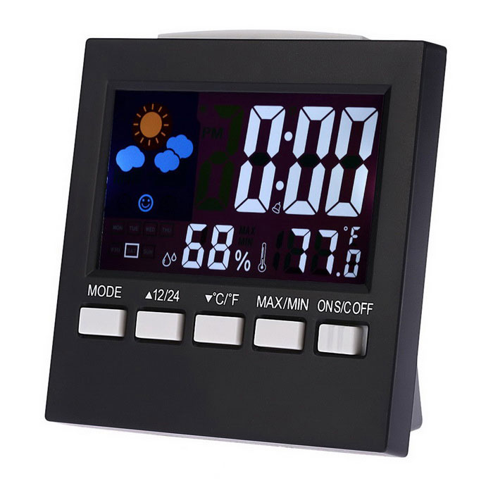 "Multi-Funktions-3.5 ""LCD-Thermometer / Hygrometer / Uhr - Schwarz"
