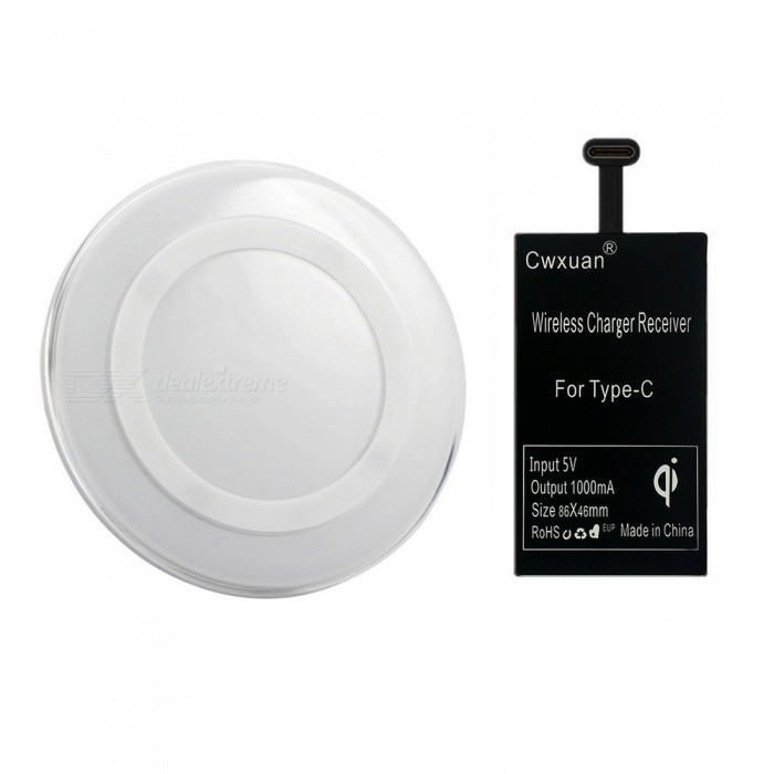Type-C Qi Wireless Charger Receiver + Wireless Charging Kit - White