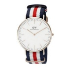 DW 0102DW Men's Stainless Steel Case Striped Nylon Band Wrist Watch