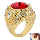 Retro Fashion Ruby + Rhinestones Inlaid Gold-plated Alloy Ring