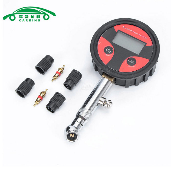 Car Truck Tire Air Pressure Dial Gauge Meter TesterPressure and Vacuum Testers<br>Form  ColorBlack + Red + Multi-ColoredModelN/AQuantity1 DX.PCM.Model.AttributeModel.UnitMaterialPlastic + metalTypeTire Pressure GaugeFunctionmeasure tire pressureScreen Size2.6 DX.PCM.Model.AttributeModel.UnitPressure Range0-200Measurement UnitPSI,Kpa,Bar,kg,cm2Packing List1 * Tire Gauge  4 * Valve cap 2 * Valve core<br>