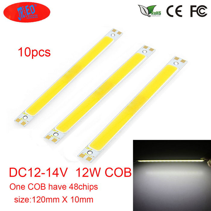 JRLED 120 * 10mm 12W 48-COB cool módulo de LED branco (dc 12 ~ 14V / 10 pcs)