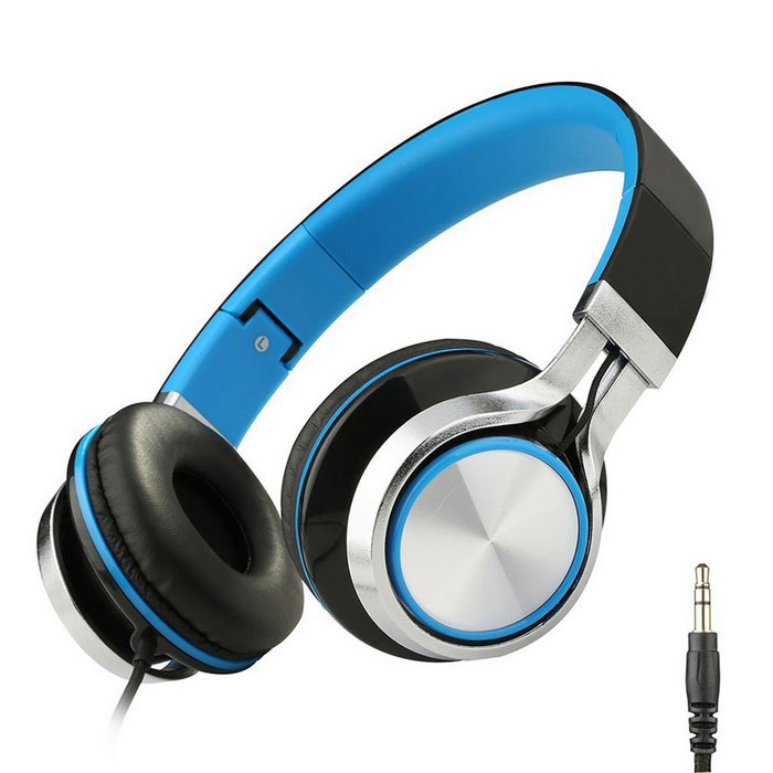 MS200 Universal Subwoofer Folding Headphone - preto + azul