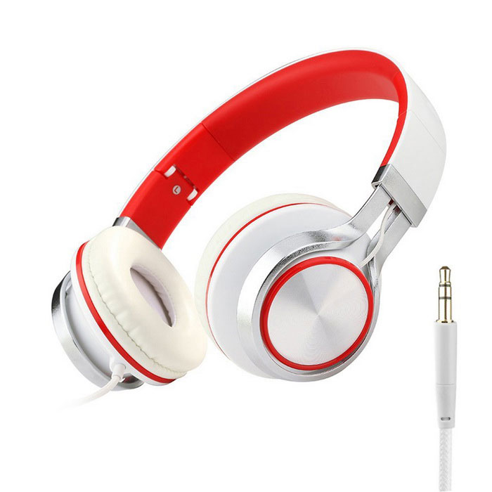 MS200 Universal Subwoofer Folding Headphone - White + Red