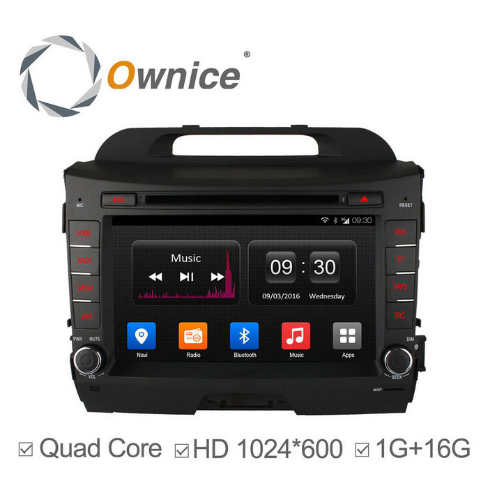 Ownice C300 Android 4.4 Quad-Core HD 1024 * 600 DVD para carro Kia SPortasage